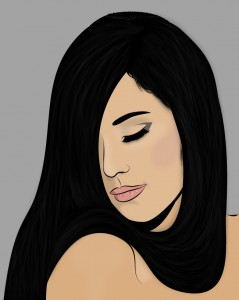 black silky hair illustrator portriat