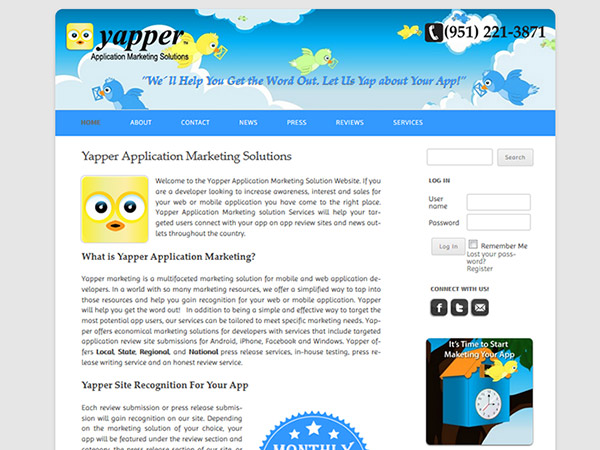 yapper app marketing web design project