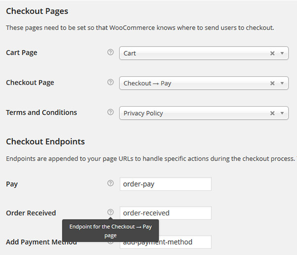 woocommerce checkout settings screenshot