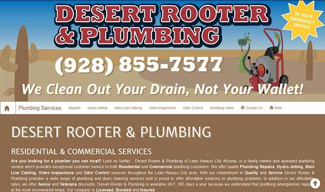 desert rooter and plumbing website screenshot